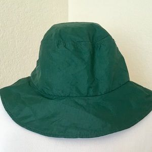 Rain hat dark green nylon water resistant hat